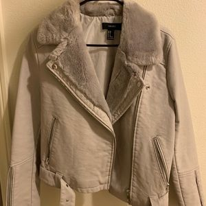 Grey Leather Women's Jacket with Fur